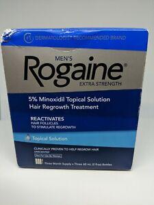 Rogaine Men's Extra Strength Unscented Bottles 2fl Oz 3 Month Supply exp:03-22