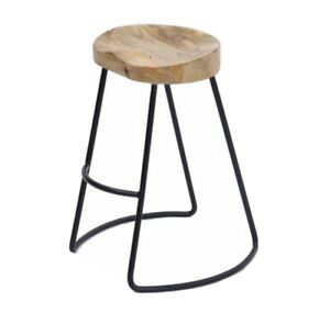 """The Urban Port 24"""" Contemporary Wood Saddle Seat Small Barstool in Brown/Black"""