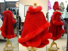 Red Cashmere Cape With Fox Fur Trim Beautifully Canadian Label