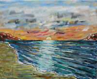 canvas DOLFIN BAY SUNSET 8x10 sunset shore oil painting beach signed CROWELL