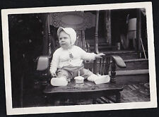 Antique Photograph Baby in Beautiful Rocking Chair With Cupcake With Candle