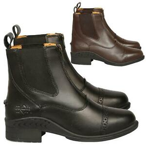 Ladies Equestrian Jodhpur Boots- Front Zip Up Classic Leather Horse Riding Boots