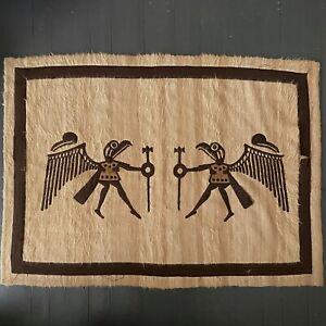 Vintage Peruvian Winged Warrior Rug