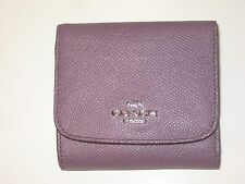 New Coach 53789 Colorblock Eggplant Multi Leather Small Trifold Wallet Coin Pkt