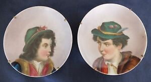 """Antique Austrian Hand Painted Mounted Pin Dishes 4"""""""