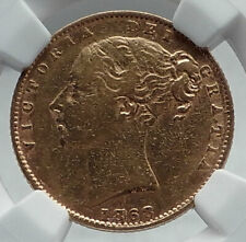 1868 GREAT BRITAIN UK Queen Victoria Gold Sovereign Coin St George NGC i80930