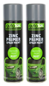 Autotek Zinc Primer Filler Spray Paint - 500ml x2 Professional Rust Protect