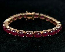 Natural Ruby Cabochon Gemstone 14K Rose Gold Plating 925 Silver Tennis Bracelet