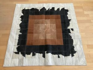 New Cowhide Rug Leather. Animal Skin Patchwork Carpet. Size : 4 ft x 4 ft