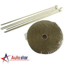 2000F Titanium EXHAUST HEAT WRAP 25MM X 4.5M + 6 STAINLESS STEEL TIES