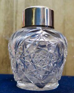 Vintage 1920's Crystal Vanity Jar w/ Sterling Silver Lid Cover