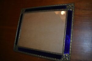 Antique Blue Glass and Brass Picture Frame