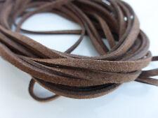 5m x 3mm Scuro Marrone Cioccolato Finta Imitazione Pelle Scamosciata Cavo Tanga DELLA COLLANA