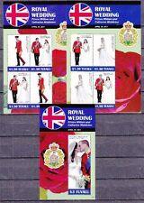 Tuvalu 2011 Hochzeit Royal Wedding William & Kate 1 Block + 2 Kleinbogen **