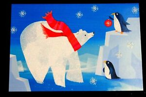 "16 Cards Hallmark Seasons Christmas Cards Box of 16 ""Happy Holidays""Bear Pegun"