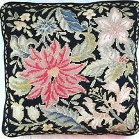 Vintage Needlepoint Pillow -  Black Floral Motif - Wool Hand Stitched