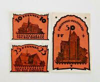 BAD DOBERAN REUTERGELD NOTGELD 10, 25, 50 PFENNIG 1921 NOTGELDSCHEINE (11997)