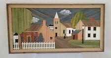 "Theodore DeGroot (1920-2019) Dutch folk lath inlaid artwork 49"" x 25"", 1970's"
