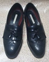 FLORSHEIM LOAFERS SIZE 10 3E WING TIP BROGUED TASSEL BLACK LEATHER DRESS MENS