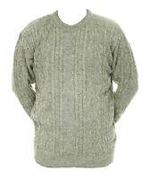 Mens M L XL New Crew Neck Green Beige Mix Jumper Acrylic Wool Pullover Sweater