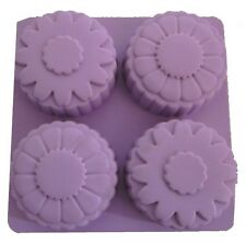 SILICONE 4 HOLE FLOWER CAKES MOULD PAN TIN - B84