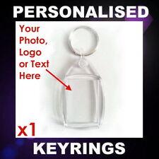 PERSONALISED CUSTOM PHOTO KEYRING PROMOTIONAL BUSINESS LOGO BAG TAG GIFT