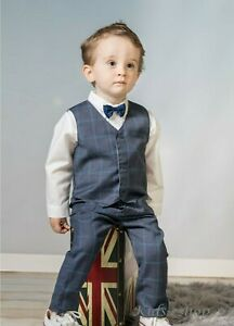 Baby Boy Suit Gentleman Grey Checked Outfit Smart Party Birthday Christmas