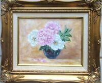 Still Life Peonies Flowers Blue Vase Original Oil Painting Hand-Painted Framed