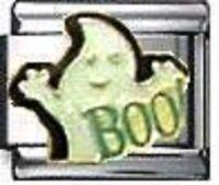 Boo! ghost enamel 9mm stainless steel italian charm bracelet link new