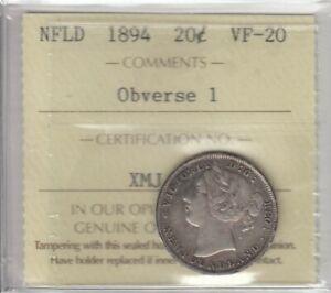 1894 Newfoundland Silver Twenty Cents - ICCS VF-20 Obv #1 - Cert#XMJ218