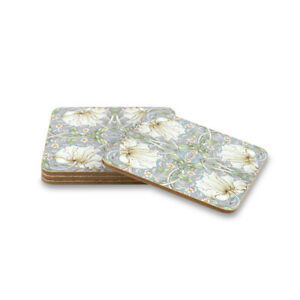 Drink Coasters William Morris Pimpernel Set of 4 Cork Backed Gift Boxed Duck Egg