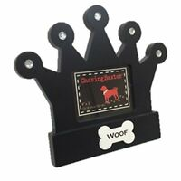 "Chasing Baxter Jeweled Crown Picture Frame Dog Woof Table Top Wood Black 4"" x 3"""