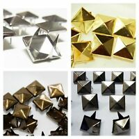 50 or 100 Pyramid Studs Rivet - Leather Crafts 6mm - 12mm Studs - UK Seller