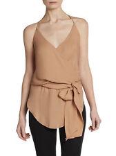 Haute Hippie  Halter Wrap Silk Blouse with Self Tie Belt Top $265.00 Size M