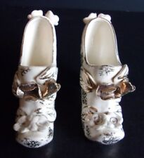 Pair Miniature Gold & White High Heels Hand Painted China