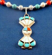 ZUNI MOP Turquoise Inlay Sterling SUNFACE PENDANT SIGNED Clarence Pedro necklace