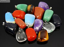 Natural Gemstones Freeformed Nugget Reiki Chakra Pendant Charms Silver Plated