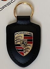 PORSCHE METAL CRESTED LEATHER KEY RING FOB BLACK