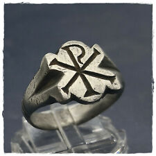 ** CHI - RHO ** EXCELLENT ancient SILVER Roman ring! 6,64g