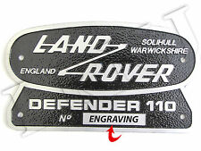LAND ROVER SOLIHULL WARWICKSHIRE ENGLAND DEFENDER 110 PLATE BADGE & ENGRAVING