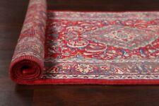 Excellent Vintage Floral Sarouk Runner Rug Traditional RED/BLUE Hand-made 3'x11'