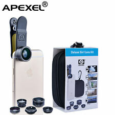Apexel Cell phone lens 5 in 1 HD Camera Kit 198° Fisheye +0.63x Wide Angle+15x