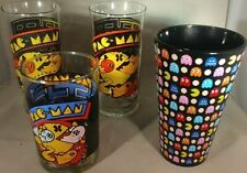 4 VTG PAC MAN 1980 Bally Midway Cup Arbys Tumbler Glass Retro VIDEO GAME