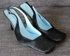 Dolce & Gabbana D&G Italy Black Pony Calf Hair Slingback Heels Pumps Shoes 39