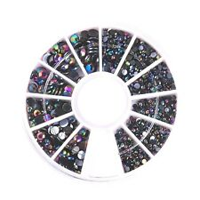 ROUND NAIL ART GEMS JEWELS DESIGN CRAFT NAILS 6CM WHEEL MIXED SIZE RAINBOW