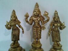 brass Detailed statue Lord Vishnu with wives 4.5 inches tall USA Seller