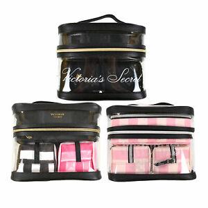 Victoria's Secret Makeup Bag Set 4 Piece Cosmetic Case Travel Zip Close Vs New