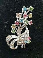 Vintage Multi colours Rhinestones Bouquet of flowers brooch