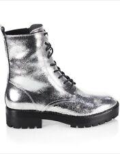 $625 Michael Kors Collection Gita Combat Boots SZ 8.5 Silver Crackle Boots NIB!