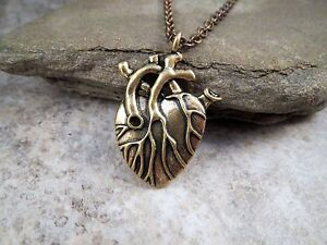 Antique Bronze Anatomical Heart Necklace